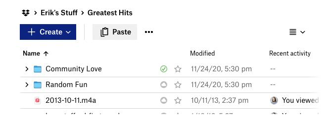 A screenshot of the Drobox application showing Erik's Greatest Hits folder